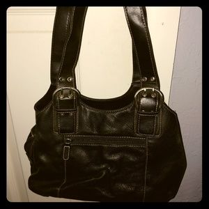 Black Leather Roomy Purse